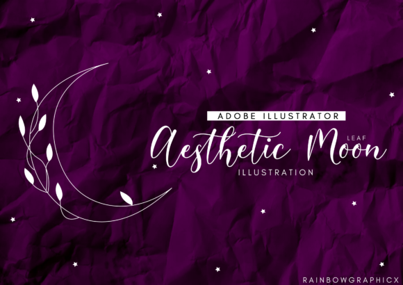Print on Demand: Aesthetic Leaf Moon Graphic Illustrations By RainbowGraphicx