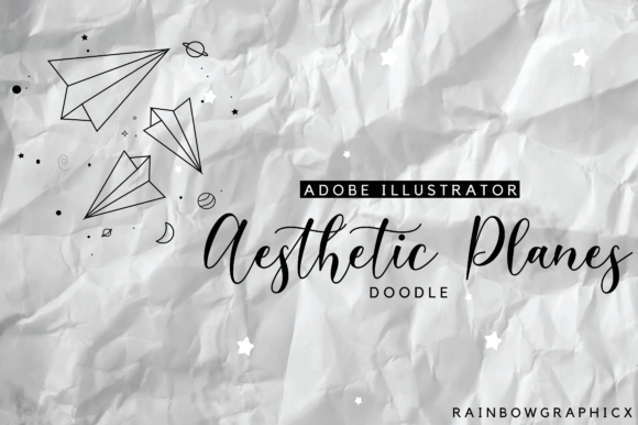 Print on Demand: Aesthetic Planes Doodle Graphic Illustrations By RainbowGraphicx