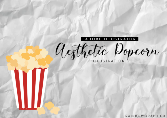 Print on Demand: Aesthetic Popcorn Graphic Illustrations By RainbowGraphicx