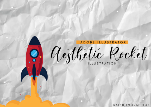 Print on Demand: Aesthetic Rocket Grafik Illustrationen von RainbowGraphicx