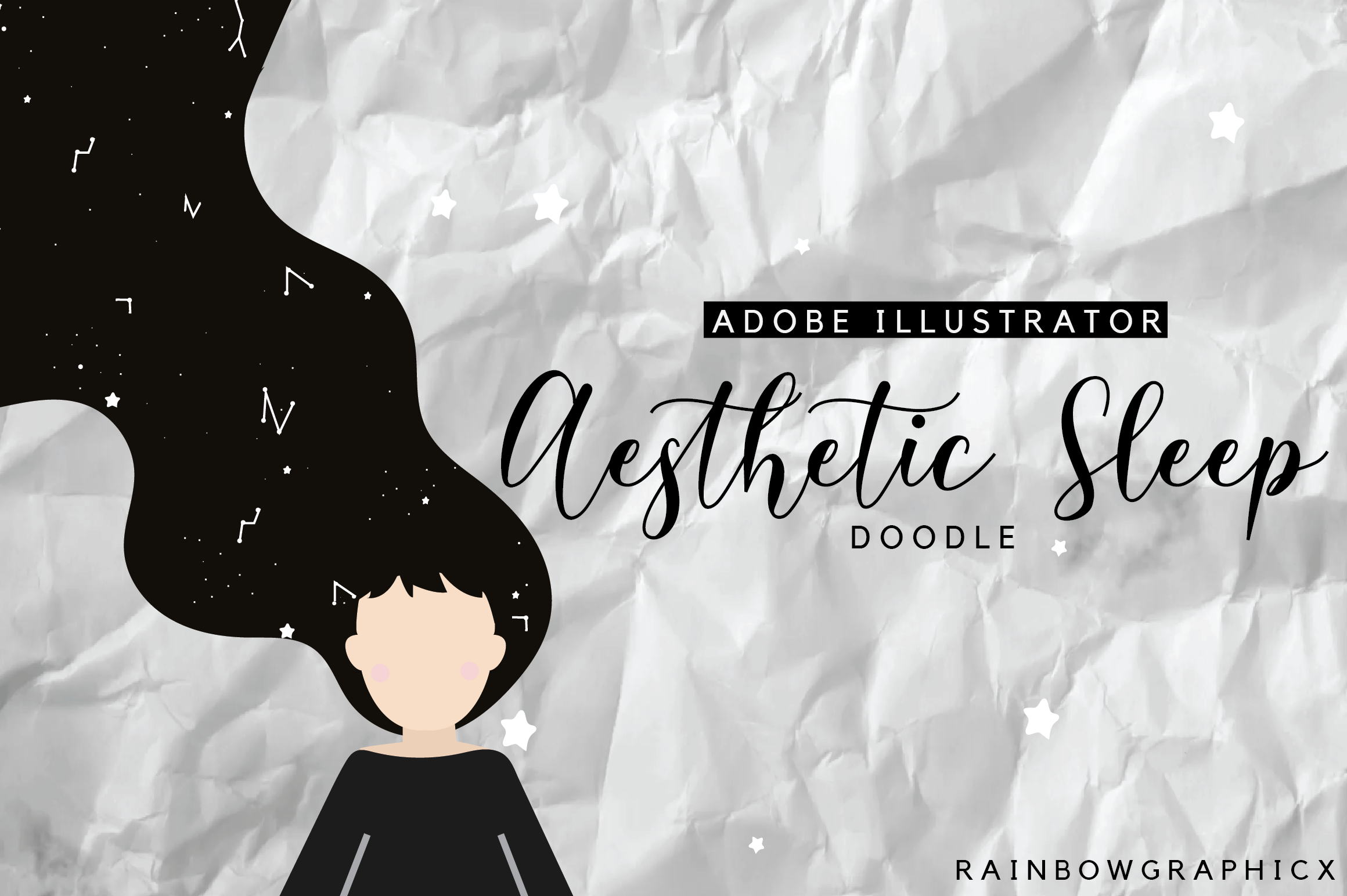 Download Free Aesthetic Sleep Doodle Graphic By Rainbowgraphicx Creative Fabrica for Cricut Explore, Silhouette and other cutting machines.