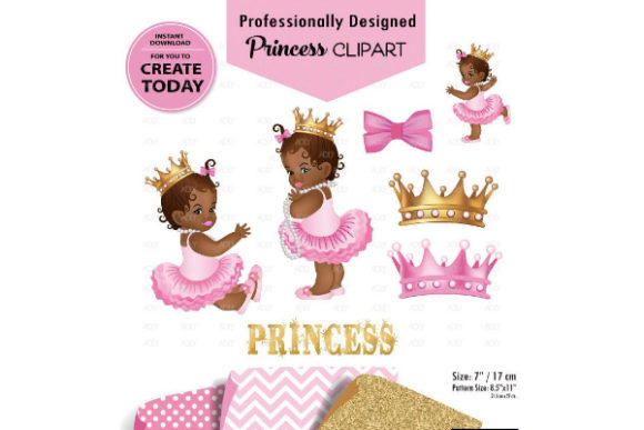 African American Baby Girl Pink and Gold Graphic
