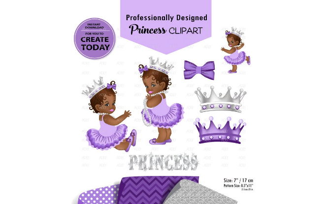 Download Free African American Babygirl Clipart Purple Graphic By Adlydigital for Cricut Explore, Silhouette and other cutting machines.