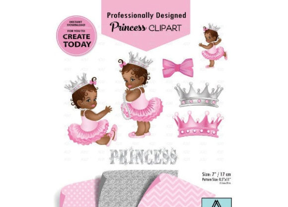 Print on Demand: African American Girl Pink Gray Clipart Graphic Illustrations By adlydigital
