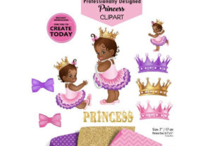 African Princess Clip Art in Purple Pink Graphic By adlydigital