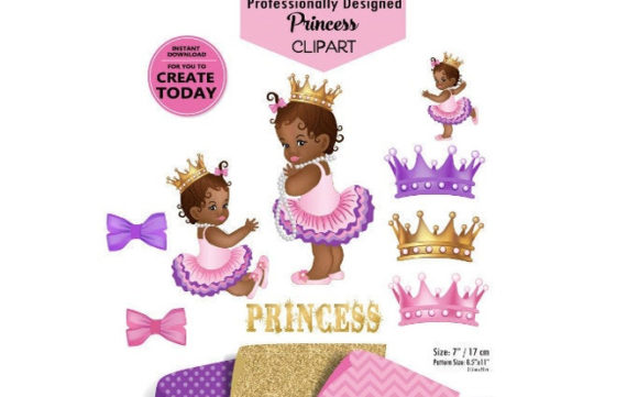 Print on Demand: African Princess Clip Art in Purple Pink Graphic Illustrations By adlydigital - Image 1