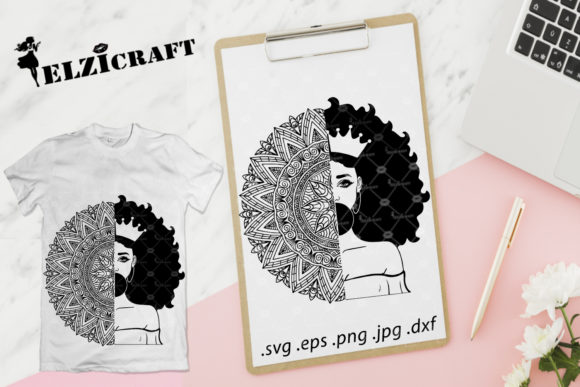 Download Free Afro Woman Bride Silhouette Graphic By Elzicraft Creative Fabrica for Cricut Explore, Silhouette and other cutting machines.
