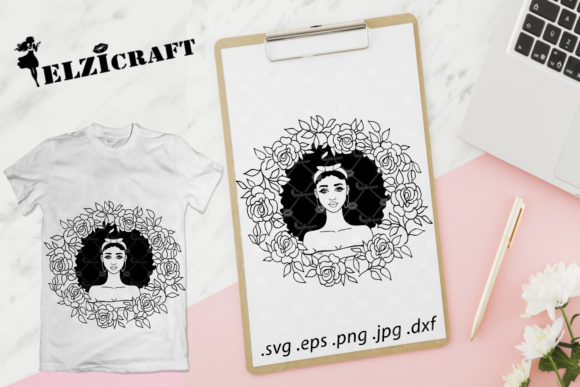 Download Free Afro Girl Rose Wreath Design Silhouette Graphic By Elzicraft for Cricut Explore, Silhouette and other cutting machines.
