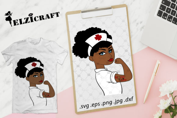 Download Free Afro Girl Rosie The Riveter Nurse Life Graphic By Elzicraft for Cricut Explore, Silhouette and other cutting machines.