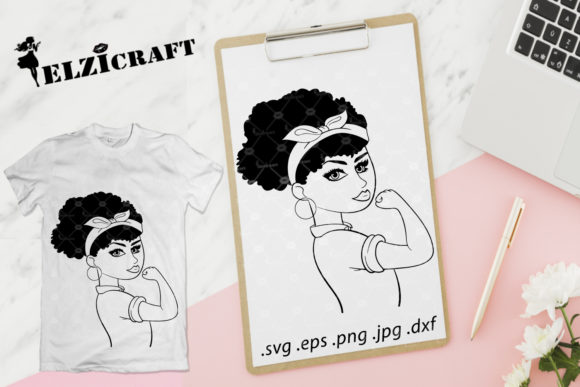 Download Free Afro Girl Rosie The Riveter Silhouette Graphic By Elzicraft for Cricut Explore, Silhouette and other cutting machines.