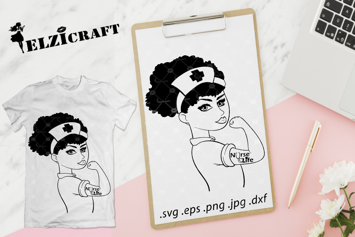 Afro Rosie The Riveter Nurse Silhouette Graphic By Elzicraft