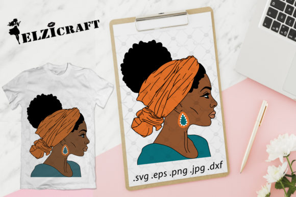 Download Free Afro Woman Headband Black History Design Graphic By Elzicraft for Cricut Explore, Silhouette and other cutting machines.