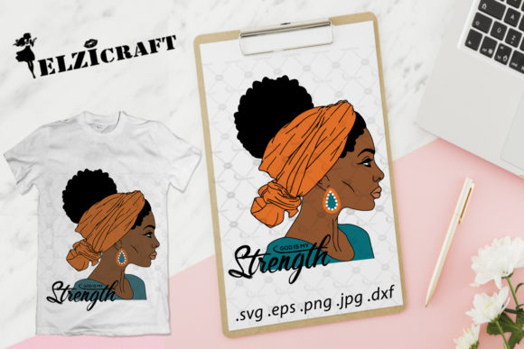 Download Free Afro Woman Headband God Is My Strength Graphic By Elzicraft for Cricut Explore, Silhouette and other cutting machines.