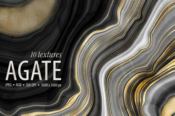Agate Stone Textures - 10 Backgrounds Graphic Textures By CatJello Graphics