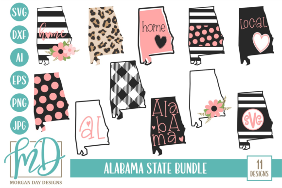 Alabama State Bundle Graphic Crafts By Morgan Day Designs