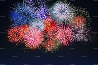Amazing Red, Golden, Blue Fireworks over Graphic By TasiPas