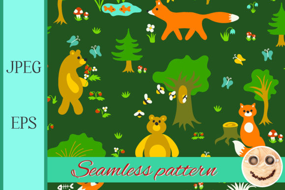 Print on Demand: Animals in Forest Seamless Pattern Graphic Patterns By TasiPas