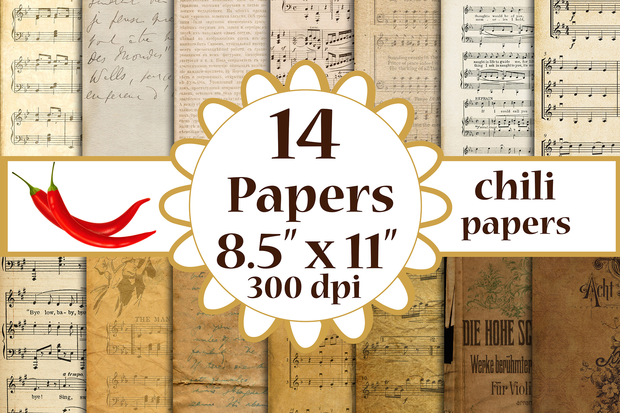 Antique Papers Antique Music Papers A4 SVG File