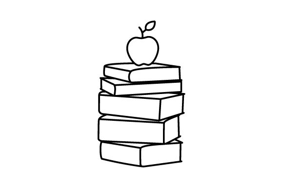 Download Free Apple Sitting On Stack Of Books Line Art Svg Cut File By for Cricut Explore, Silhouette and other cutting machines.