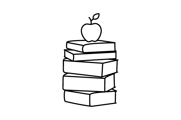 Apple Sitting On Stack Of Books Line Art Svg Cut File