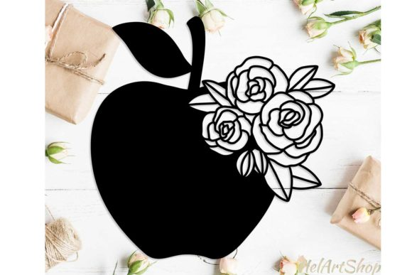 Download Free Apple With Flowers Svg Design Graphic By Helartshop Creative for Cricut Explore, Silhouette and other cutting machines.