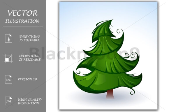 Artistic Green Christmas Tree Graphic Illustrations By Blackmoon9