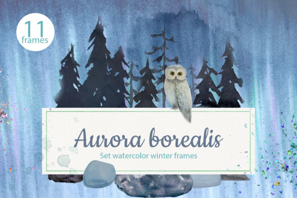 Print on Demand: Aurora Borealis. Set Watercolor Frames Graphic Objects By Natalia Arkusha