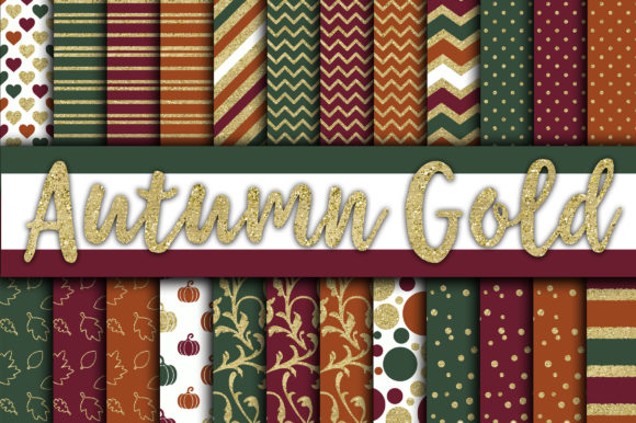 Print on Demand: Autumn Gold Digital Papers Graphic Backgrounds By oldmarketdesigns