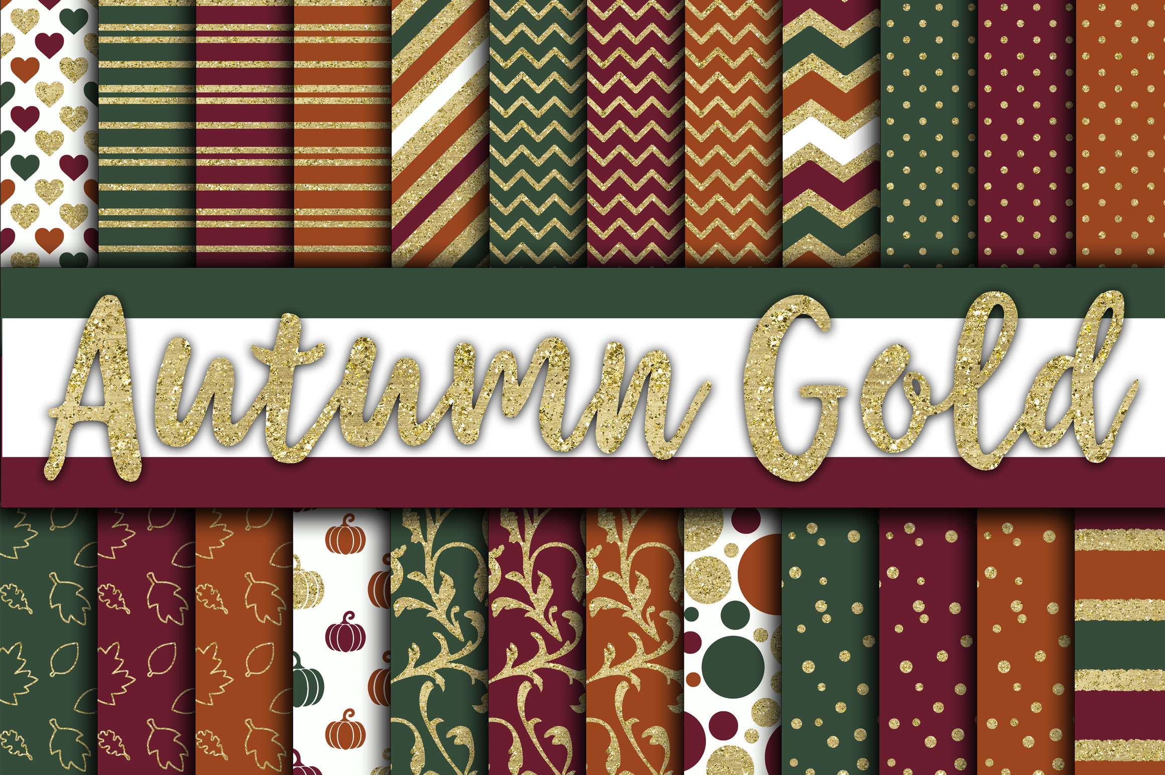 Download Free Autumn Gold Digital Papers Graphic By Oldmarketdesigns for Cricut Explore, Silhouette and other cutting machines.