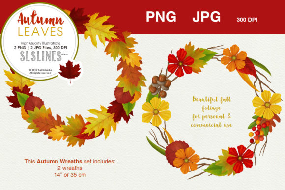 Print on Demand: Autumn Leaves Wreath Set PNG Graphic Illustrations By SLS Lines
