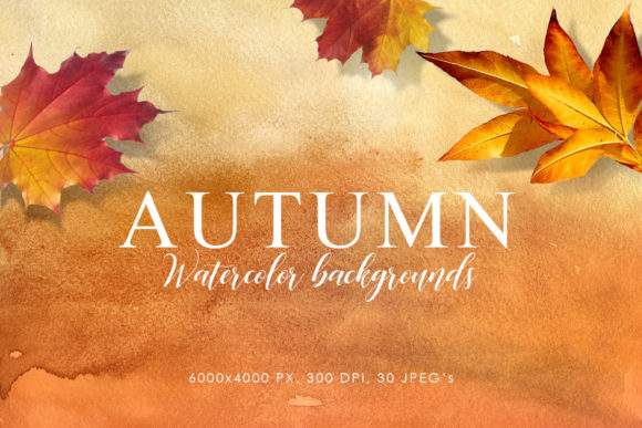 Print on Demand: Autumn Watercolor Backgrounds 1 Graphic Backgrounds By ArtistMef