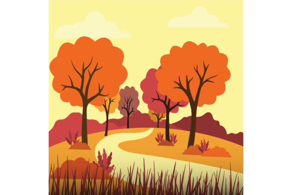 Print on Demand: Autumn Scenery Vector Illustration Graphic Illustrations By sabavector