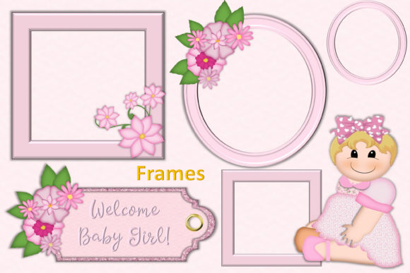 Download Free Baby Girl Clipart Backgrounds Bundle Graphic By The Paper for Cricut Explore, Silhouette and other cutting machines.