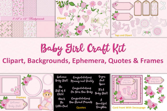 Print on Demand: Baby Girl Clipart & Backgrounds Bundle Graphic Crafts By The Paper Princess