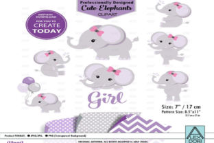 Baby Girl Elephant Shower in Purple Gray Graphic By adlydigital