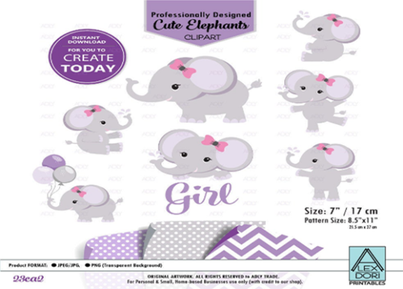 Print on Demand: Baby Girl Elephant Shower in Purple Gray Graphic Graphic Templates By adlydigital
