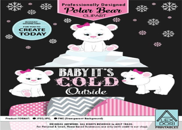 Download Free Baby Polar Bear Clipart Pink Graphic By Adlydigital Creative for Cricut Explore, Silhouette and other cutting machines.