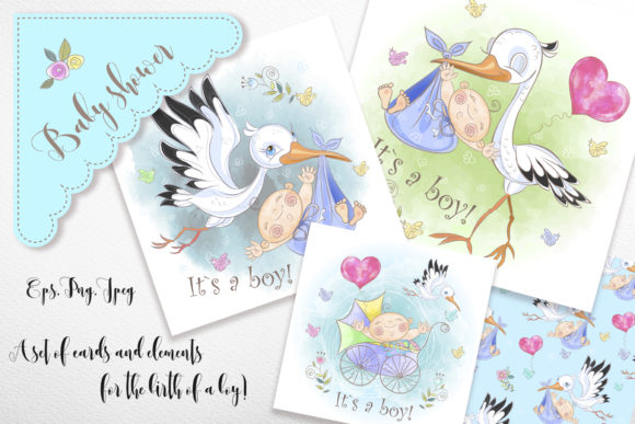 Baby Shower Set for Boy Graphic Illustrations By grigaola