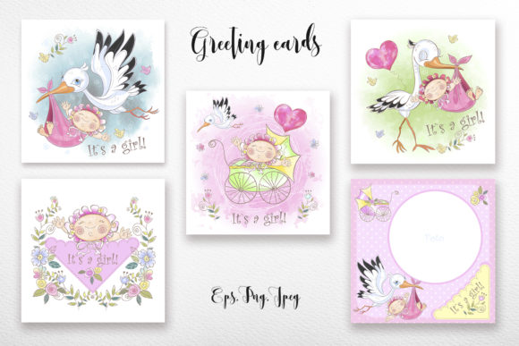Baby Shower. Set for Girl. Graphic Illustrations By grigaola - Image 2