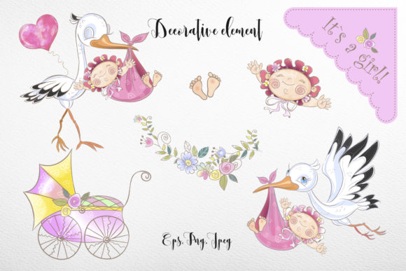 Baby Shower. Set for Girl. Graphic Illustrations By grigaola - Image 4
