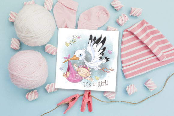 Baby Shower. Set for Girl. Graphic Illustrations By grigaola - Image 5