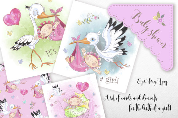 Baby Shower. Set for Girl. Graphic Illustrations By grigaola