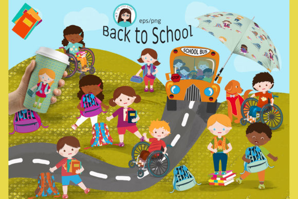 Back to School Cliparts Graphic Illustrations By CuteLittleClipart