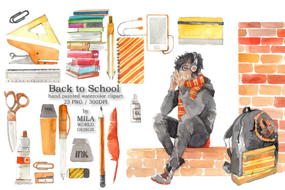 Download Free Back To School Watercolor Clip Art Graphic By Milaworlddesing for Cricut Explore, Silhouette and other cutting machines.