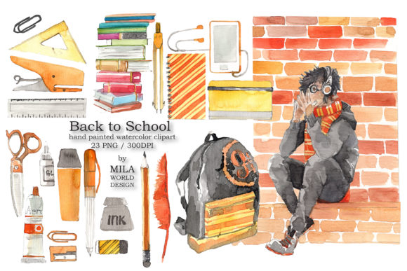 Back to School Watercolor Clip Art Graphic Illustrations By MilaWorldDesing