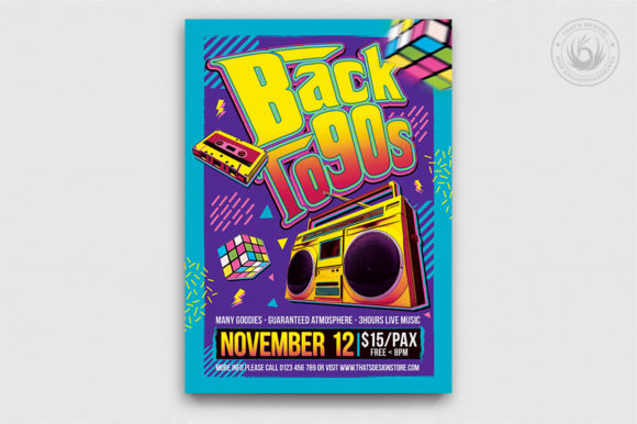 Back to the 90s Flyer Template Graphic By ThatsDesignStore