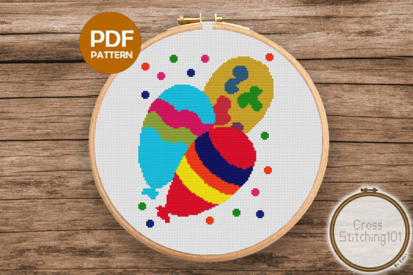 Download Free Balloon Modern Cross Stitch Pattern Graphic By Crossstitching101 for Cricut Explore, Silhouette and other cutting machines.