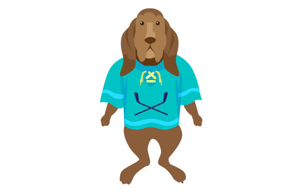 Basset Hound in Hockey Jersey Dogs Craft Cut File By Creative Fabrica Crafts - Image 1