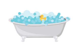 Bath Tub with Rubber Ducky and Soap Craft Design By Creative Fabrica Crafts