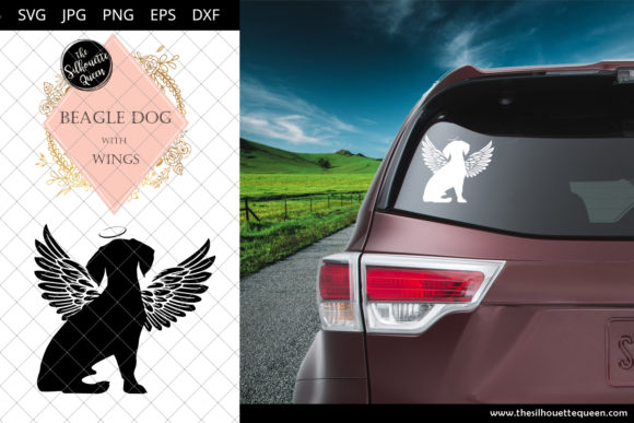Download Free Beagle Dog 8 With Wings Graphic By Thesilhouettequeenshop SVG Cut Files